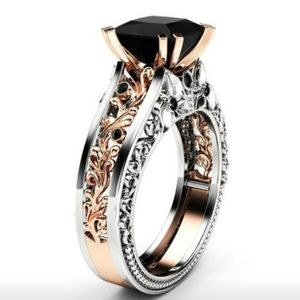 14k Rose Gold.over .925 Silver Black Diamond Ring